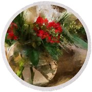 Winter Flowers In Glass Vase Round Beach Towel