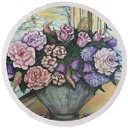 Round Beach Towel featuring the painting Winter Flowers by Rae Chichilnitsky