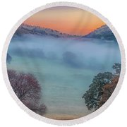 Winter Fog At Sunrise Round Beach Towel