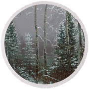 Round Beach Towel featuring the digital art Winter Fog by Stuart Turnbull