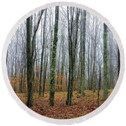 Winter Forest Round Beach Towel