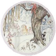 Winter Frolic Round Beach Towel by Arthur Rackham