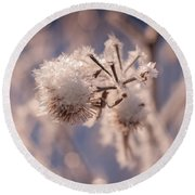 Winter Frost Round Beach Towel