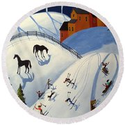 Winter Fun Day - Folk Art Landscape Round Beach Towel