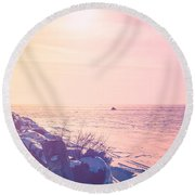 Round Beach Towel featuring the photograph Winter Fun by Joel Witmeyer