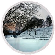 Round Beach Towel featuring the photograph Winter Glow - 365-286 by Inge Riis McDonald