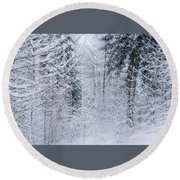 Round Beach Towel featuring the photograph Winter Glow- by JD Mims
