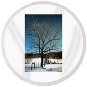 Round Beach Towel featuring the photograph Winter Glow by Karen Wiles