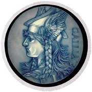 Winter Goddess Of Gaul Round Beach Towel by Fred Larucci