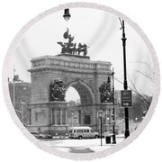 Winter Grand Army Plaza Round Beach Towel