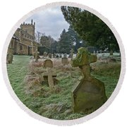 Round Beach Towel featuring the photograph Winter Graveyard by Anne Kotan