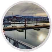 Round Beach Towel featuring the photograph Winter Harbor by Chriss Pagani