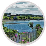 Winter Harbor Round Beach Towel