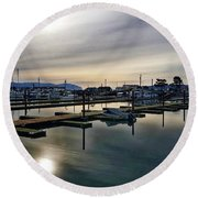 Round Beach Towel featuring the photograph Winter Harbor Revisited #mobilephotography by Chriss Pagani