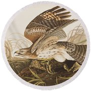 Winter Hawk Round Beach Towel