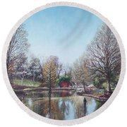 Round Beach Towel featuring the painting Winter Hilliers Garden Hampshire by Martin Davey