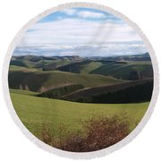 Winter Hills Round Beach Towel