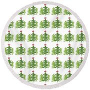 Winter Holiday Trees 1-  Art By Linda Woods Round Beach Towel