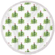 Winter Holiday Trees 2- Art By Linda Woods Round Beach Towel