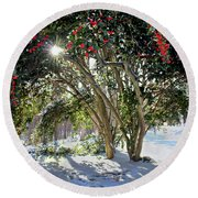 Winter Holly Round Beach Towel