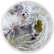 Round Beach Towel featuring the photograph Winter Ice by Christina Rollo