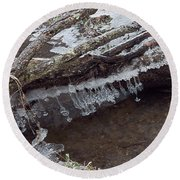 Winter Ice Dam Round Beach Towel
