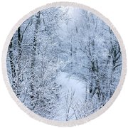 Winter Ice Storm Round Beach Towel