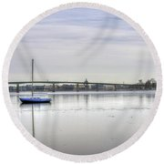 Winter In Annapolis Maryland Round Beach Towel