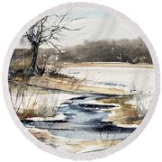 Winter In Caz Round Beach Towel by Judith Levins