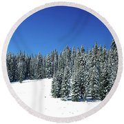 Winter In Colorado  Round Beach Towel