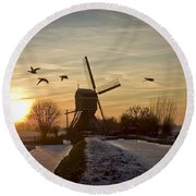 Winter In Holland-2 Round Beach Towel