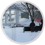 Winter In New Hampshire Round Beach Towel
