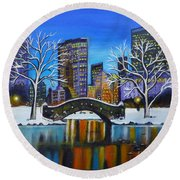 Winter In New York- Night Landscape Round Beach Towel