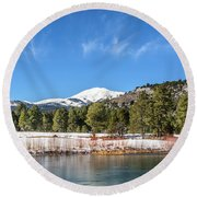 Winter In Ruidoso Round Beach Towel