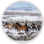 Winter In Sand Wash Basin - Wild Mustangs On The Run Round Beach Towel