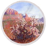 Round Beach Towel featuring the painting Winter In Sedona, Arizona by Nancy Lee Moran