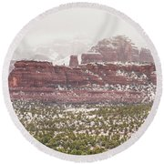 Winter In Sedona Round Beach Towel