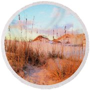 Round Beach Towel featuring the photograph Winter In South Walton by Cathy Findley