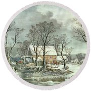 Winter In The Country - The Old Grist Mill Round Beach Towel