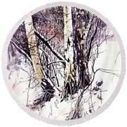 Winter In The Forest Round Beach Towel