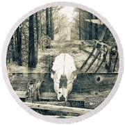 Winter In The In The Woods Round Beach Towel