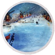 Winter In The Netherlands Round Beach Towel
