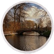 Round Beach Towel featuring the photograph Winter In The Park- 365-277 by Inge Riis McDonald