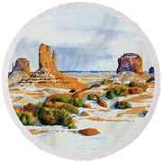 Winter In The Valley Round Beach Towel