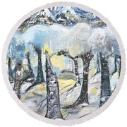 Winter In The Woods Round Beach Towel by Evelina Popilian