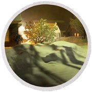 Winter In Vermont Round Beach Towel