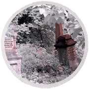 Round Beach Towel featuring the photograph Winter Infrared Cemetery by Helga Novelli