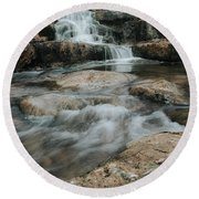 Round Beach Towel featuring the photograph Winter Inthe Falls by Iris Greenwell