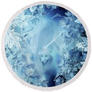Winter Is Here - Jon Snow And Ghost - Game Of Thrones Round Beach Towel by Lilia D