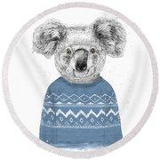 Winter Koala Round Beach Towel